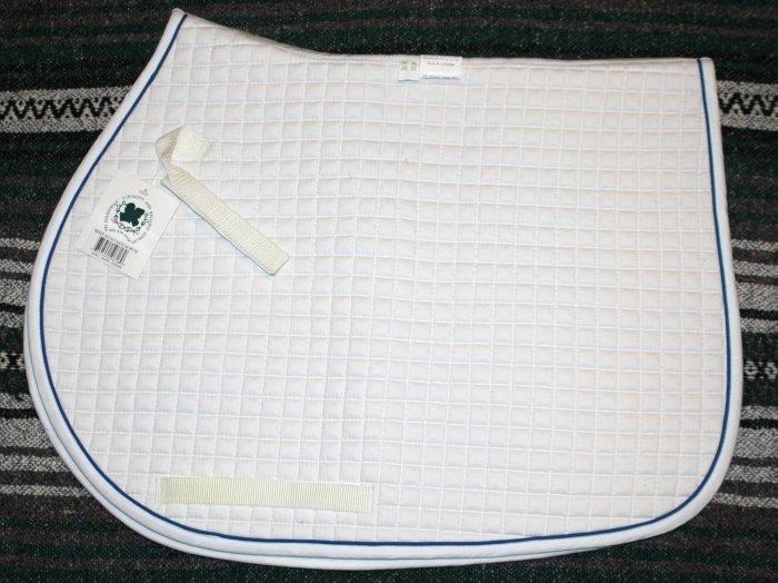 dressage saddle pad, white w/ trim