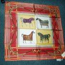 Italian silk scarf--horses in blankets; equestrian/horse tack theme