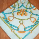 Italian silk scarf--irons and leathers; equestrian/horse tack theme