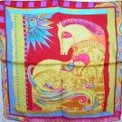 Charmeuse silk scarf--horses in the sun; equestrian/horse tack theme