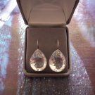 """New Solid .925 STERLING SILVER Genuine GEMSTONE EARRINGS Clear Jewels UPC:  Womens 1 3/8""""L"""