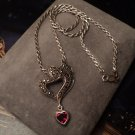 """Solid .925 STERLING SILVER Genuine GARNET MARCASITE Layerd HEART Rope NECKLACE 18""""L Womens Red UPC:"""