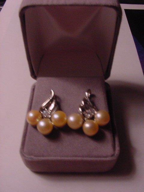 New Genuine IVORY CREAM PEARLS WHITE TOPAZ EARRINGS Velvet Box Womens Silver Gemstones Jewels UPC