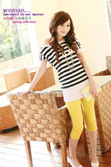 Colorful Elastic Waist Cotton Knee-Length Pants - Yellow
