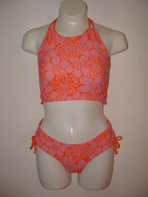 NWT Girls GAP 2pc Swimsuit Orange Pink 14-16 WRAP BONUS
