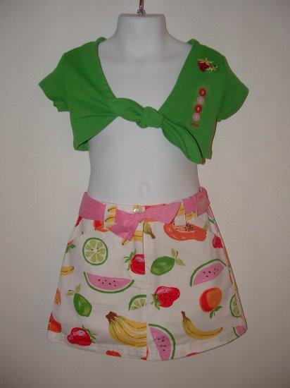 NWT Girls GYMBOREE Tutti Fruiti Skort Tie Top LOT Sz 3
