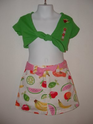 NWT Girls GYMBOREE Tutti Fruiti Skort Tie Top LOT Sz 3
