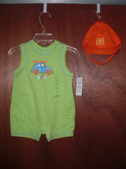 *NWT* Boys CHILDRENS PLACE Shorts Romper & Hat 3-6 Mo
