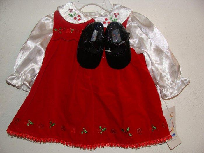 *NWT* Girl BT KIDS 3pc Xmas Dress Set 6-9 Months !CUTE!
