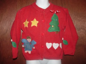 Girls HEARTSTRINGS Christmas Cardigan Sweater 5/6 *EUC*