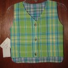 NWT Boy MAK THE YAK Boutique Plaid Reversible Vest 6 Mo