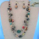 MULTI COLORED BEADS AND STYLES NECKLACE AND EARRING SET