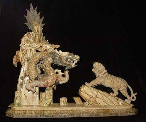 Nice Old Bone Carving Art Lucky Dragon Tiger Figure