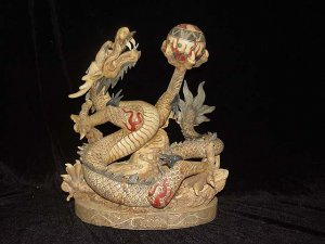 Nice Old Bone Carving Art Lucky Dragon Play Bead