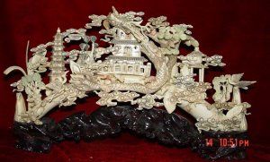Nice Old Bone Carving Dragon Fly Paradise View
