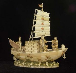 Nice Old Bone Art Carving Two Fisher By sail boat