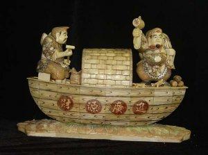 Nice Old Bone Art Carving Two Fortune God boat Bring Wealth