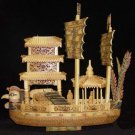 Nice Old Bone Art Handcarft Phoenxi Double Sailing boat
