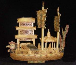 Nice Old Bone Art Handcarft Phoenxi Double Sailing boat
