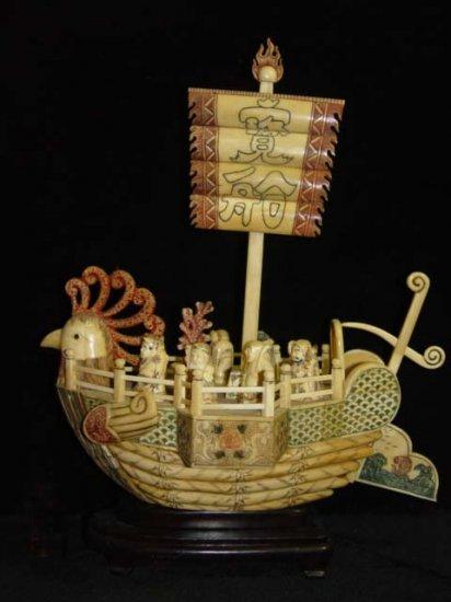 Nice Old Bone Art Handcarft God Phoenxi Sailing boat