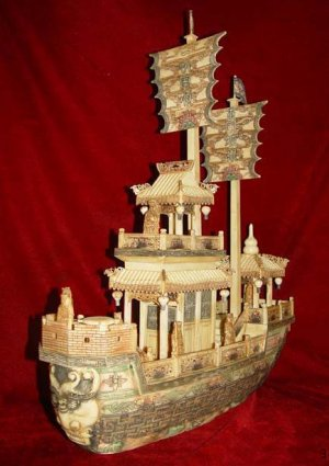 Nice Old Bone Art Handcarft Two Sailing War Ship