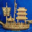 Nice Old Bone Art Handcarft Dragon Sailing Ship