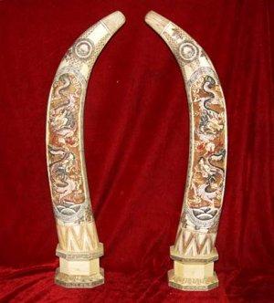 Nice Old Bone Art Handicraft Two Dragon Play Sun Design Pair Tooth
