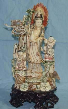 Old Bone Art Handicraft Lucky Child Kwan-yin Statue