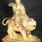 Old Bone Art Handicraft Water Lily Bodhisattva Ride Foo Dog Statue