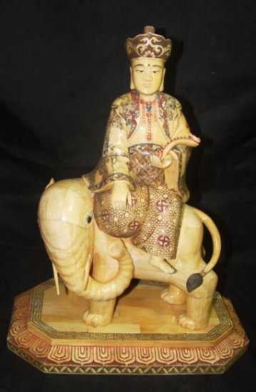 Old Bone Art Handicraft Ruyi Bodhisattva Ride Foo Dog Statue