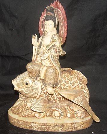 Old Bone Art Handicraft Lucky Kwan-yin Ride Fish Statue