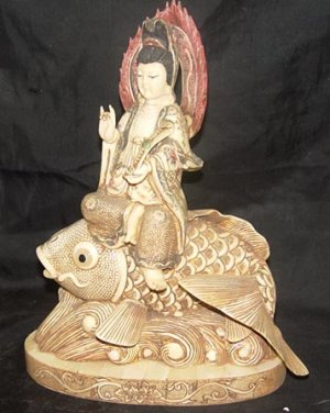 Old Bone Art Handicraft Lucky Kwan-yin Ride Fish Statue