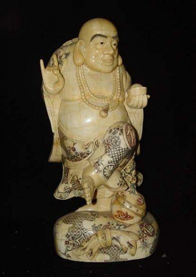 Old Bone Art Handicraft Lucky Wealth Mile Buddha Figure