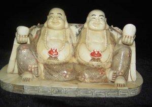 Old Bone Art Handicraft Lucky Two Fortune Buddha Figure