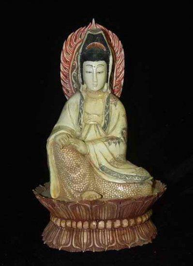 Old Bone Art Handicraft Kwan-yin Set lotus throne Figure