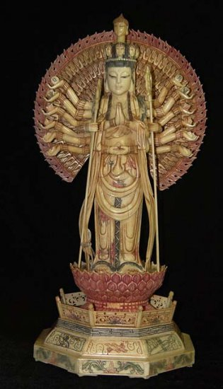 Old Bone Art Handicraft Nice Thousand Hand Kwan-yin Figure