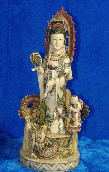 Old Bone Art Handicraft Lucky Kwan-yin Ride Dragon Statue