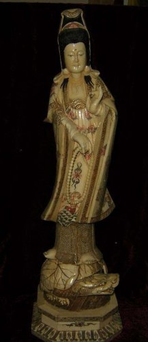 Old Bone Art Handicraft Kwan-yin prayer beads Ride Tortoise Statue