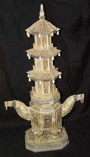 "Old Bone Art Dragon Figure Handle Nice Carving Tower 37"""