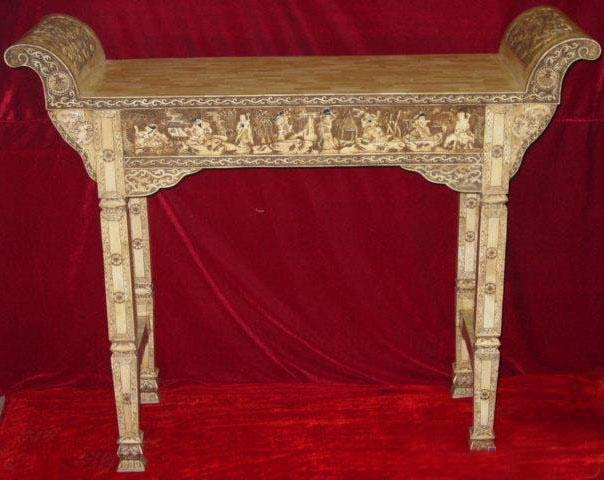 "Exquisite Bone Art Handicraft Carving 8 immortal Table 59"" Length"