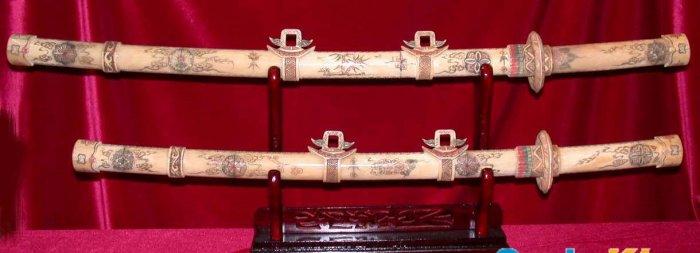 "Exquisite Bone Art Handicraft Carving Two Sword On Shelf 32"" Length"