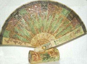Exquisite Bone Art Handicraft Carving Dragon Fan