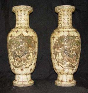 Exquisite Bone Art Handicraft Carving Lucky Kylin Pair Vase