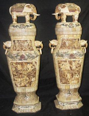 Exquisite Bone Art Handicraft Carving 8 Immortal Pair Elephant Bottle