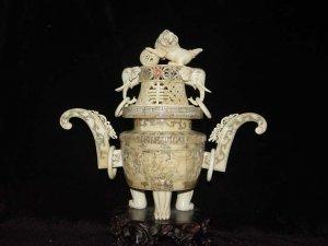 Exquisite Bone Art Handicraft Carving Dragon Foo Dog Fume Stove