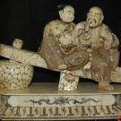 Exquisite Bone Art Handicraft Old blessedness Couple Statue