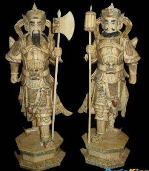 Exquisite Bone Art Handicraft Pair Safety Door God Statue