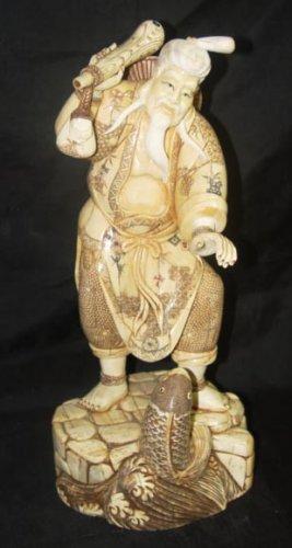 Exquisite Bone Art Handicraft Elder God Play Fish Statue