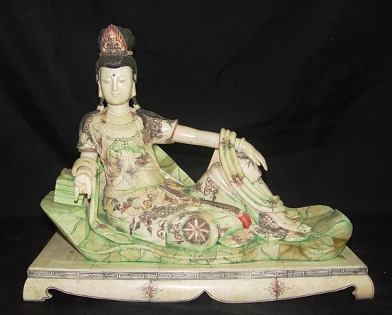 Exquisite Bone Art Handicraft Lucky fairy Lie lotus leaf Statue
