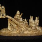 Exquisite Bone Art Handicraft Lucky Seven God By Ship Figure
